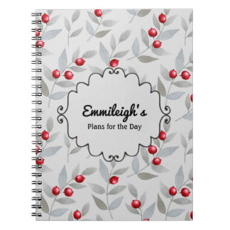 Personalized Red Berries Gray Leaves Journal