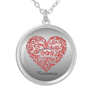 Personalized Red BFF Heart Necklace