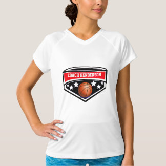 Personalized Red, black and white Basketball coach T-Shirt