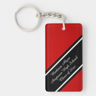 Personalized Red Black and White Graduation Year Keychain