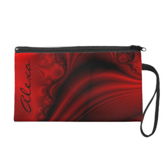 Personalized Red & Black Faux Satin Wristlet