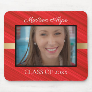 Personalized Red Black Gold Graduation Photo Mouse Pad