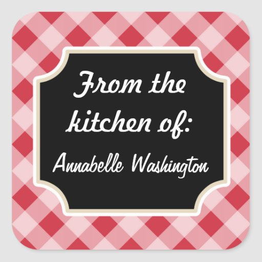 Personalized Red Black Kitchen Stickers