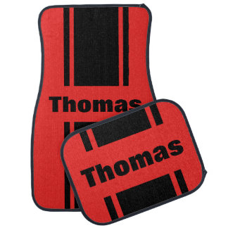 Miscellaneous Car Floor Mats - Personalized Red / Black Racing Stripe Floor Mats