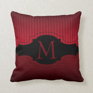Personalized Red Black Stripes Pattern Monogram Throw Pillow