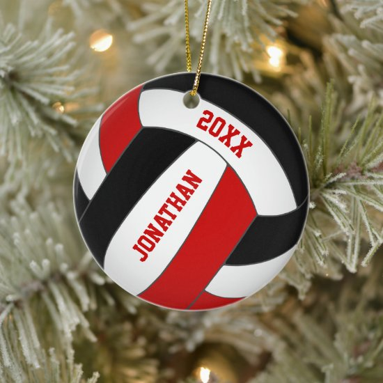 personalized red black team colors boys volleyball ceramic ornament