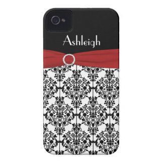Personalized Red, Black, White Damask Case-Mate iPhone 4 Case