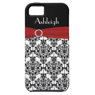Personalized Red ribbon Black White Damask iPhone 5 Case