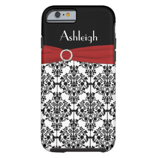 Personalized Red Black White Damask iPhone 6 case