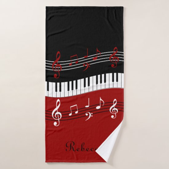 Personalized Red Black White Piano Keys Bath Towel Set