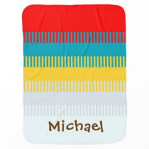 Personalized Red Blue Yellow White Gray Cute Swaddle Blanket