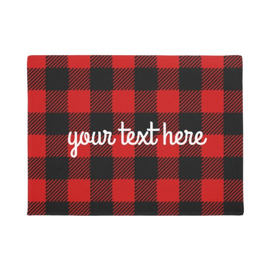 Personalized Red Buffalo Plaid Door Mat Zazzle Com
