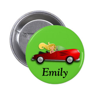 Personalized Red Car and Girl Button