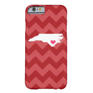 Personalized Red Chevron North Carolina Heart Barely There iPhone 6 Case