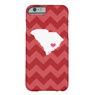 Personalized Red Chevron South Carolina Heart Barely There iPhone 6 Case