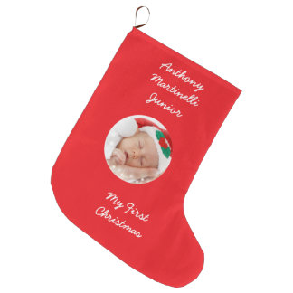 Personalized Red Christmas Stocking with Photo