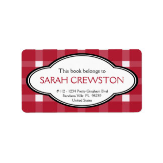 Personalized Red Country Gingham Print Bookplate