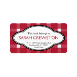Personalized Red Country Gingham Print Bookplate Address Label
