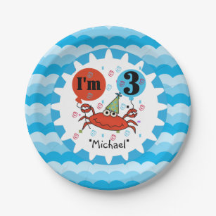 Personalized Red Crab 3rd Birthday Paper Plates  sc 1 st  Zazzle & 3rd Birthday Plates | Zazzle