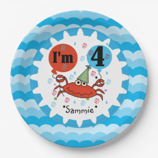 Personalized Red Crab 4th Birthday Paper Plates 9 Inch Paper Plate