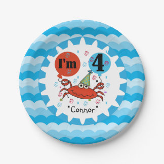Personalized Red Crab 4th Birthday Paper Plates 7 Inch Paper Plate