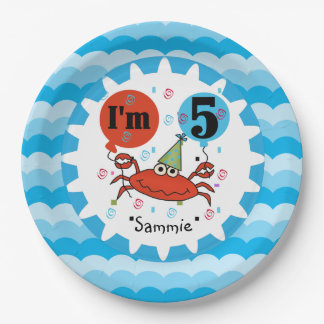 Personalized Red Crab 5th Birthday Paper Plates
