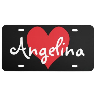 Valentines Themed Personalized Red Cute Heart Shape License Plate