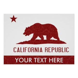 Personalized Red Damask California Republic Flag Poster