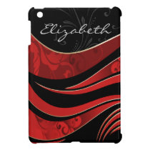 personalized red damask pattern girly Ipad case