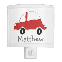 Personalized red doodle toy car night light