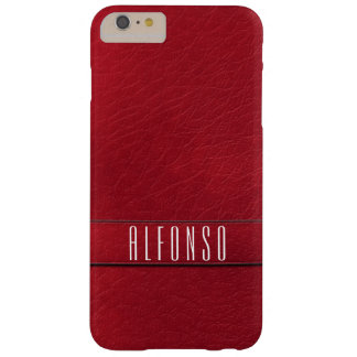 Personalized Red Faux Leather Phone Case Barely There iPhone 6 Plus Case