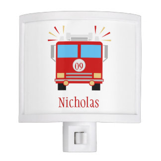 Personalized Red Fire Engine Night Light