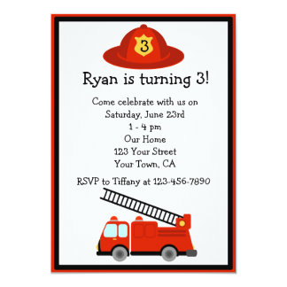 "Personalized Red Fire Truck Birthday Party Invite 5"" X 7"" Invitation Card"