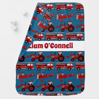 Personalized Red Fire Truck, Tractor & Plane Stroller Blanket