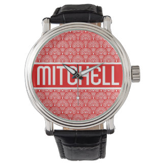 Personalized Red Fish Scale KB Wrist Watch