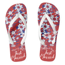 Personalized Red Floral Honeymoon Vibes Flip Flops