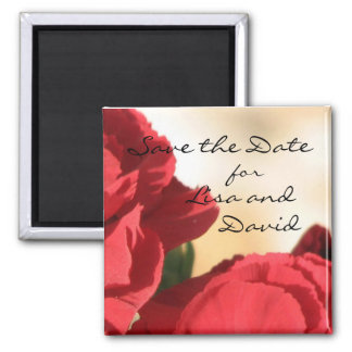 Personalized Red Floral Save the Date Magnet