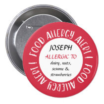 Personalized Red Food Allergy Alert Customized Button