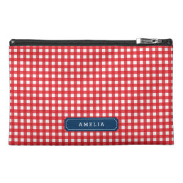 Personalized Red Gingham Monogram Accessory Bag