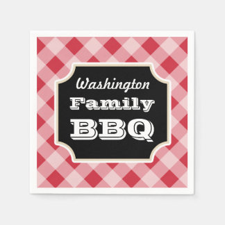 Personalized Red Gingham Napkins
