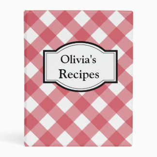 Personalized Red Gingham Recipe Binder