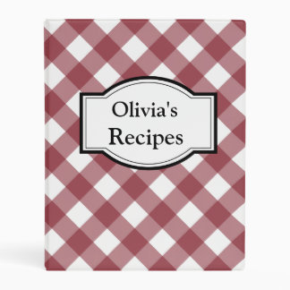 Personalized Red Gingham Recipe Binder Gift