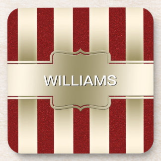 Personalized Red Glitter and Gold Stripes Monogram Drink Coaster