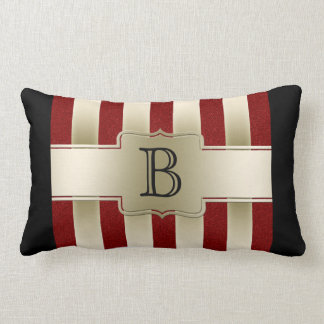 Personalized Red Glitter and Gold Stripes Monogram Pillow