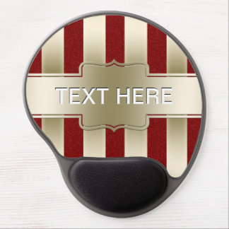Personalized Red Glitter and Gold Stripes Pattern Gel Mouse Pad