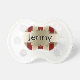 Personalized Red Glitter and Gold Stripes Pattern Pacifier