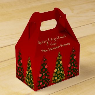 Personalized Red & Gold Christmas Tree Favor Box