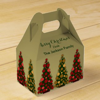 Personalized Red & Gold Christmas Tree Favor Box 2