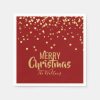 Personalized RED Gold Confetti Merry Christmas Paper Napkins
