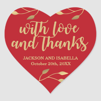 Personalized Red Gold Heart Wedding Cake Box Label